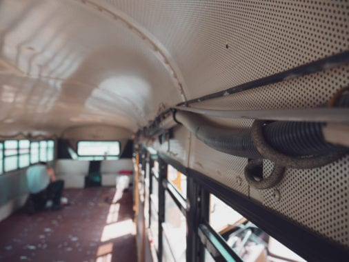 Converting a school bus is an enjoyable experience, but it isn't easy. From legalities to appliances, here's five things to consider before starting your skoolie! | sincewewokeup.com