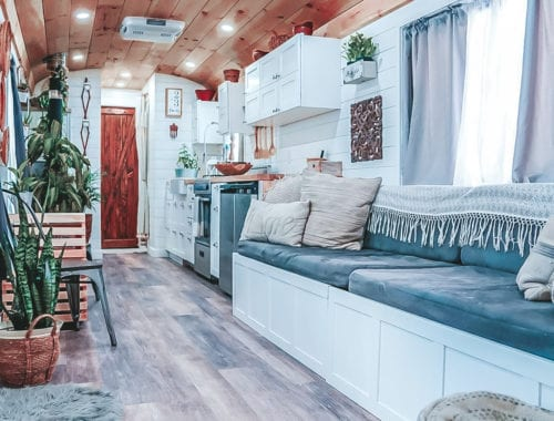 Today we're featuring the Happy Homebodies skoolie - a bus conversion with a roof raise, open floor plan and serious style! | Since We Woke Up | sincewewokeup.com