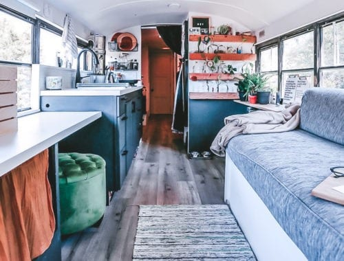 Today we're featuring the We Live on a Bus skoolie - a bus conversion with a coffee bar, plant wall, and tons of open space for this family of four. |Since We Woke Up | sincewewokeup.com