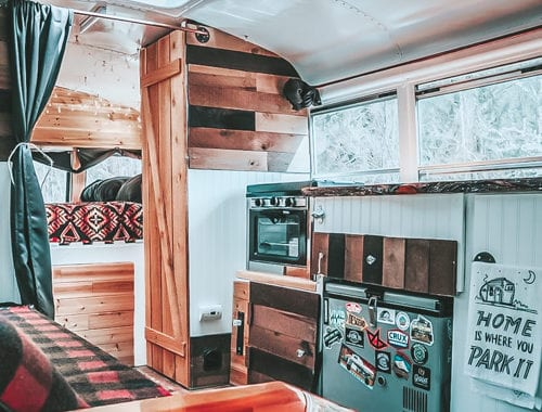 Today we're featuring the Skooliana skoolie - a bus conversion with major rustic vibes, an outdoor shower, and a recording studio! | Since We Woke Up | www.sincewewokeup.com